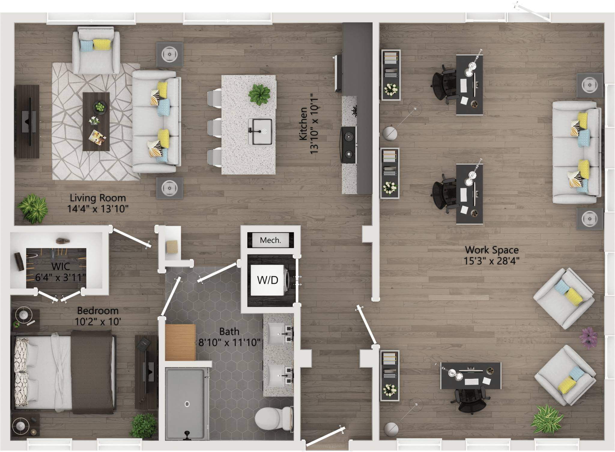 two Bedroom 1,120ft,141ft,patio
