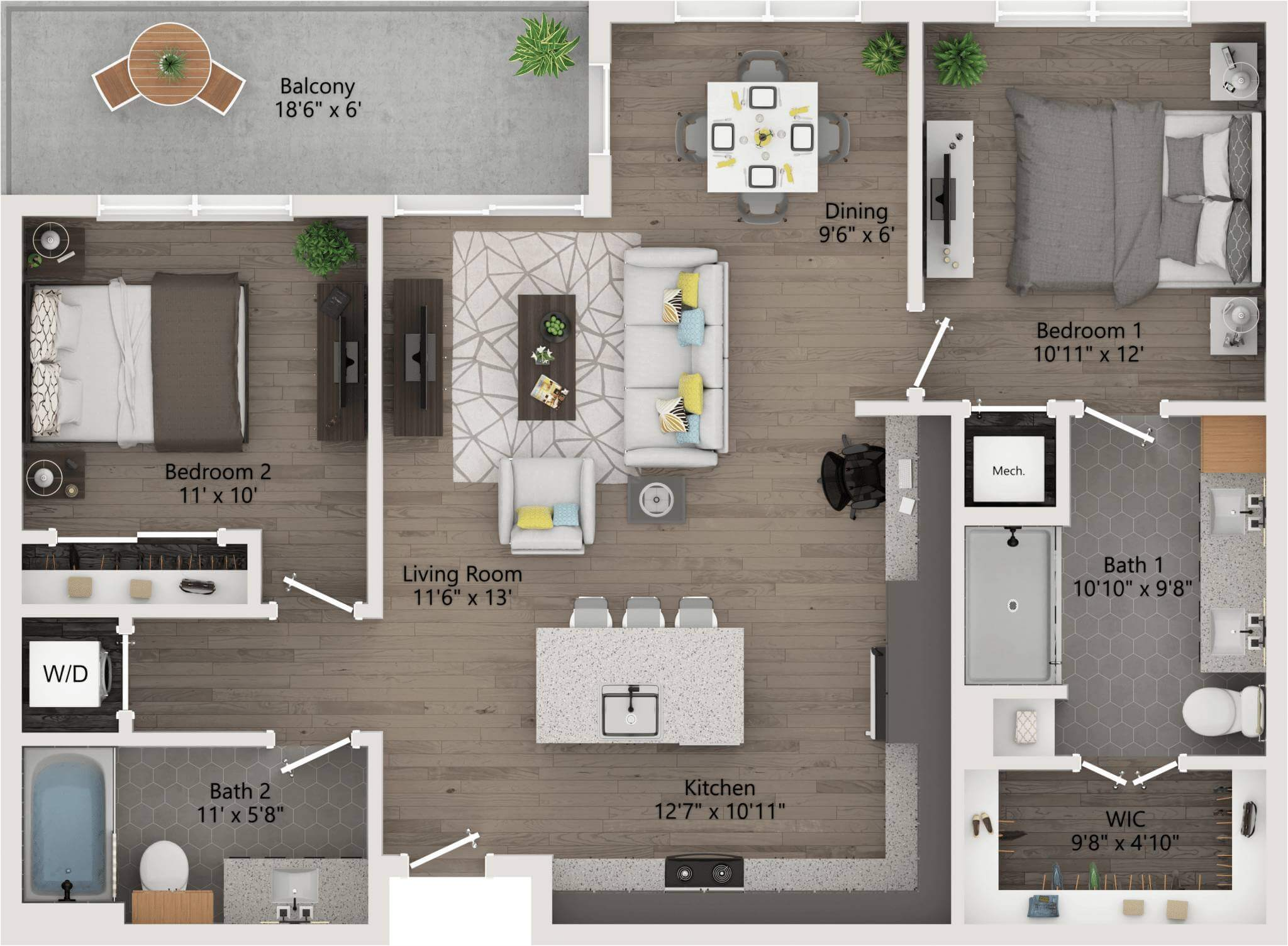 two Bedroom 1,052ft,111ft,patio