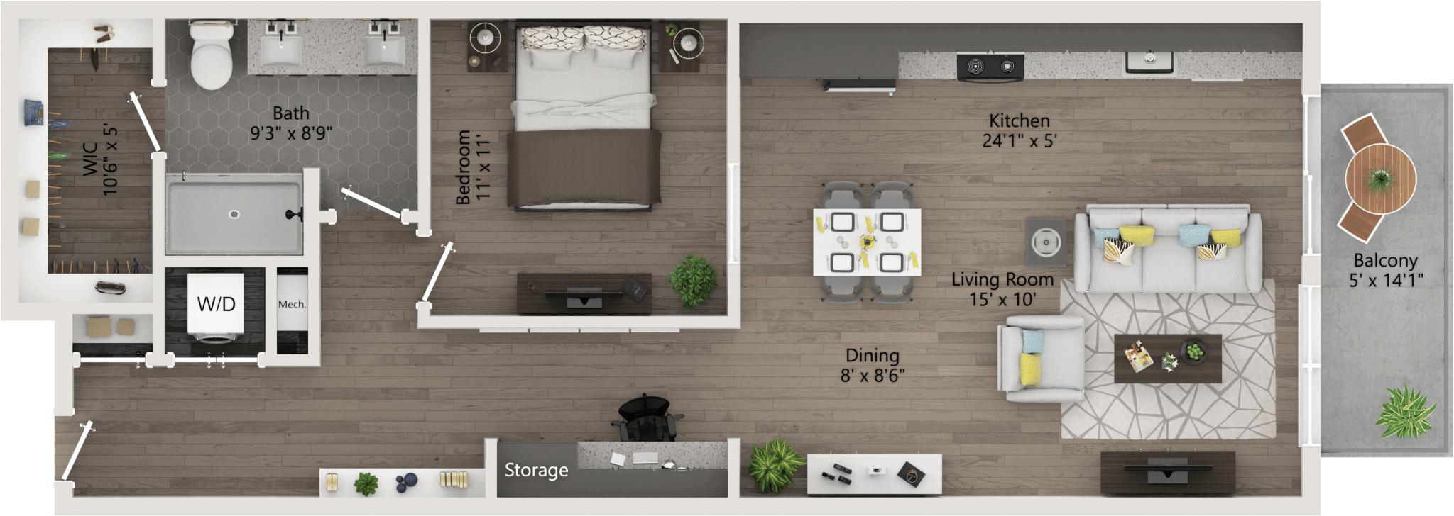 One Bedroom 861ft,36-70ft,patio