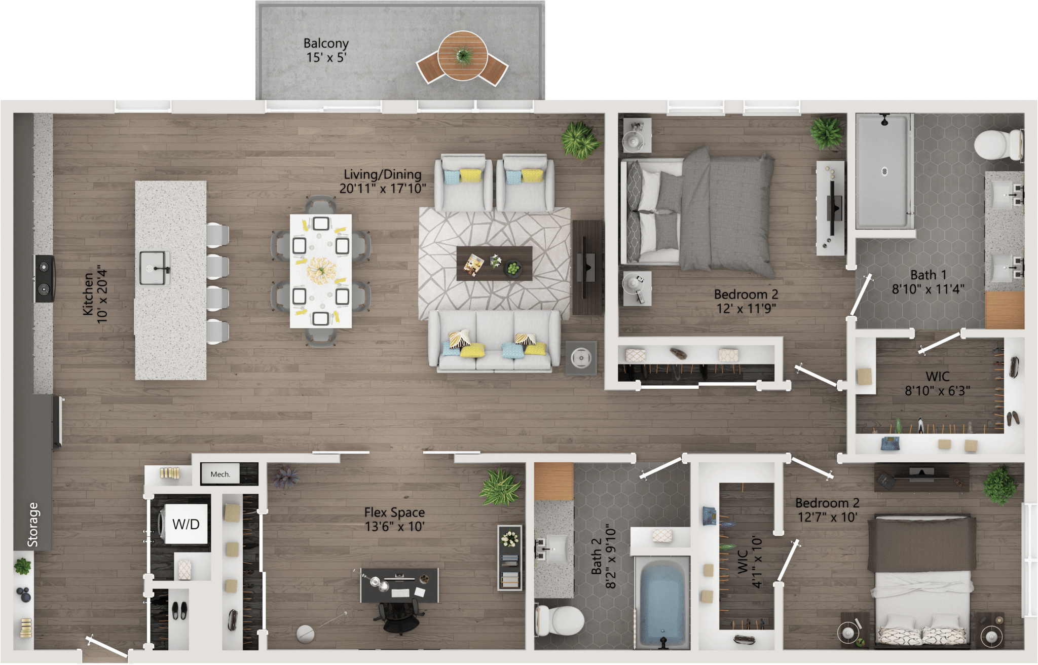 two Bedroom 1,548ft,36–75ft,patio