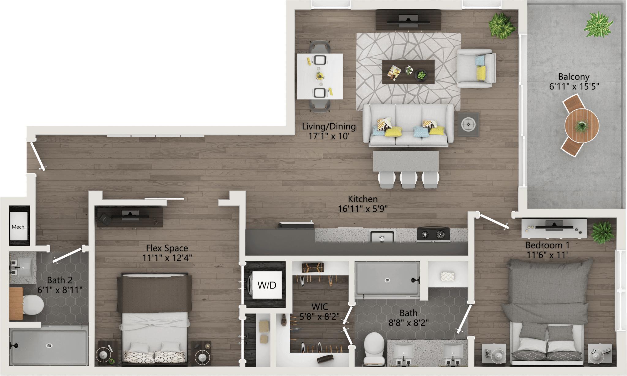 One Bedroom 995ft,119ft,patio