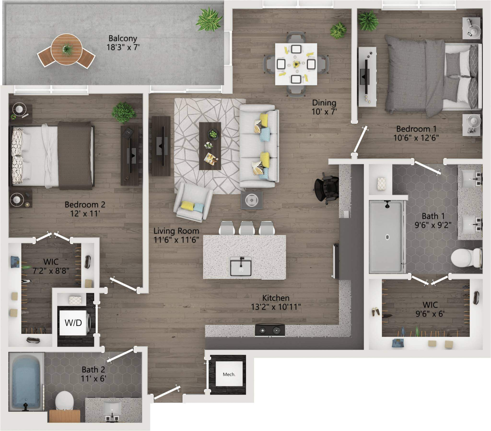 two Bedroom 1,146ft,129ft,patio